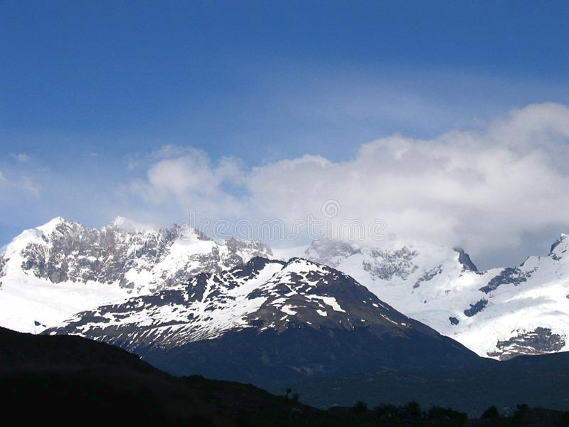 Views of snow peaks and glaciers of Andes mountains, Patagonia royalty free stock image