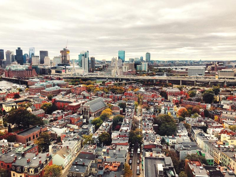 The views from top of the Bunker Hill Monument in Boston stock photo