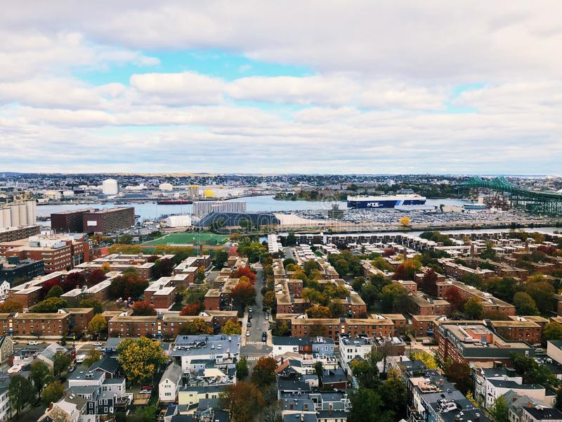 The views from top of the Bunker Hill Monument in Boston royalty free stock photography