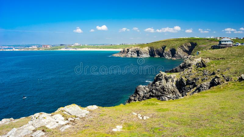 East Pentire Newquay Cornwall England. Views towards Fistral beach from East Pentire Newquay Cornwall England UK royalty free stock photography