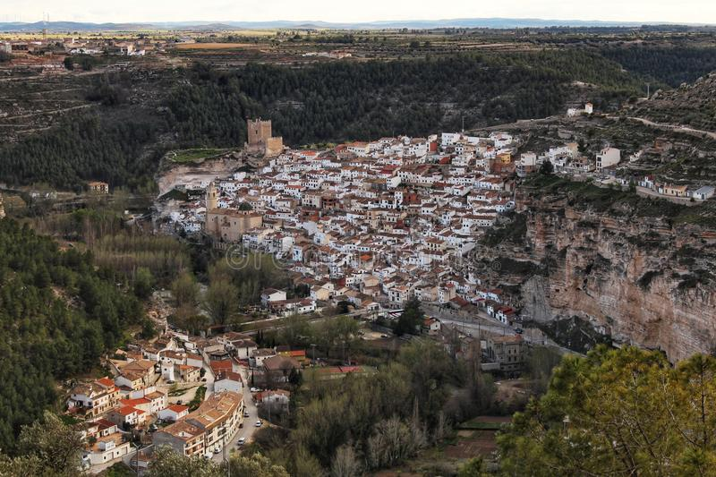 Views of the village of Alcala del Jucar in the morning from the viewpoint. In Spring stock image