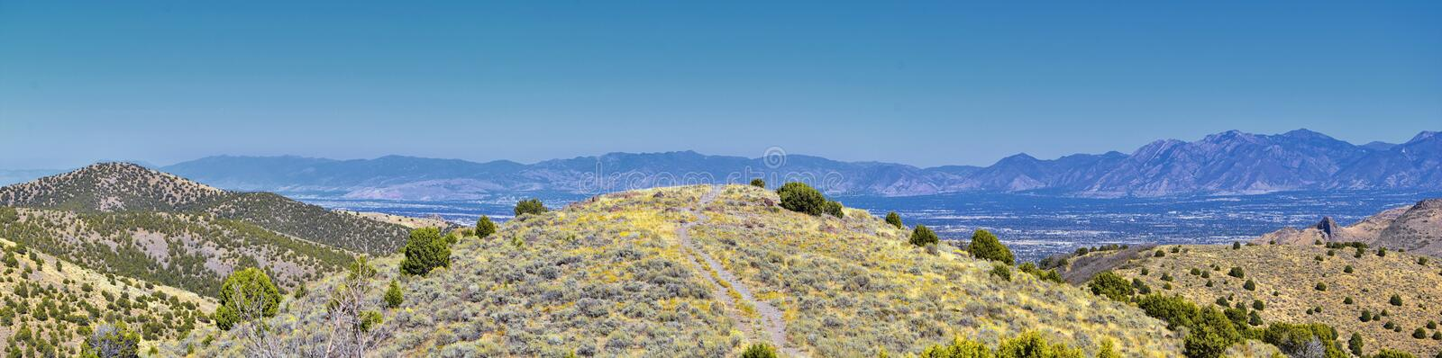 Views of Wasatch Front Rocky Mountains from the Oquirrh Mountains with fall leaves, Hiking in Yellow Fork trail Rose Canyon Utah stock images