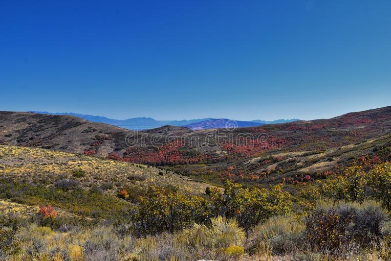 Views of Wasatch Front Rocky Mountains from the Oquirrh Mountains with fall leaves, Hiking in Yellow Fork trail Rose Canyon Utah royalty free stock photography