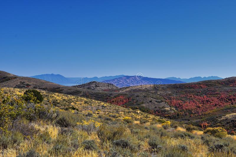 Views of Wasatch Front Rocky Mountains from the Oquirrh Mountains with fall leaves, Hiking in Yellow Fork trail Rose Canyon Utah stock photography