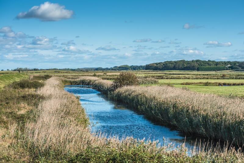 Views of waterway surrounded by reeds, from Norfolk Coast path National Trail near Burnham Overy Staithe. East Anglia, England, UK stock images