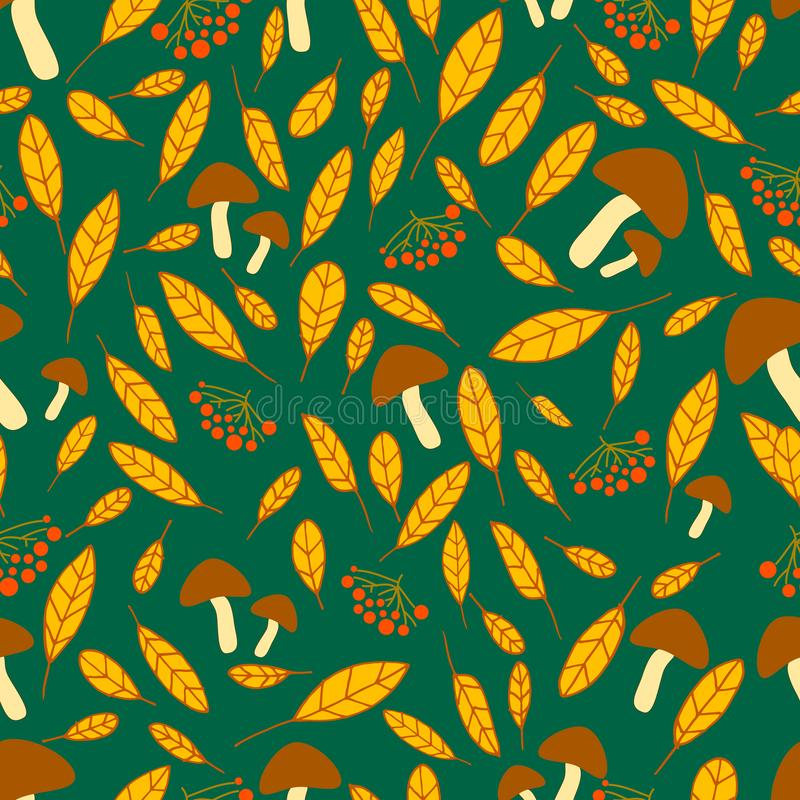 Vif, forêt, modèle sans couture d'automne avec le viburnum, champignons illustration de vecteur