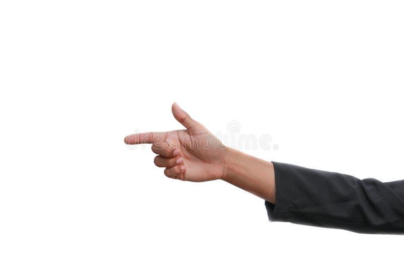 Vifta fingret på vit bakgrund royaltyfria foton