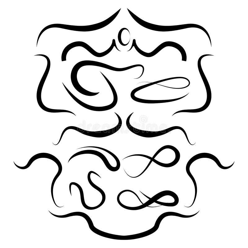Viftningar och Swashes, ramar för garnering stock illustrationer