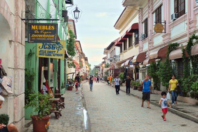 VIGAN, ΦΙΛΙΠΠΊΝΕΣ - 25 ΙΟΥΛΊΟΥ 2015: Ιστορική πόλη Vigan Το Vigan είναι μια περιοχή παγκόσμιων κληρονομιών της ΟΥΝΕΣΚΟ στοκ εικόνες με δικαίωμα ελεύθερης χρήσης