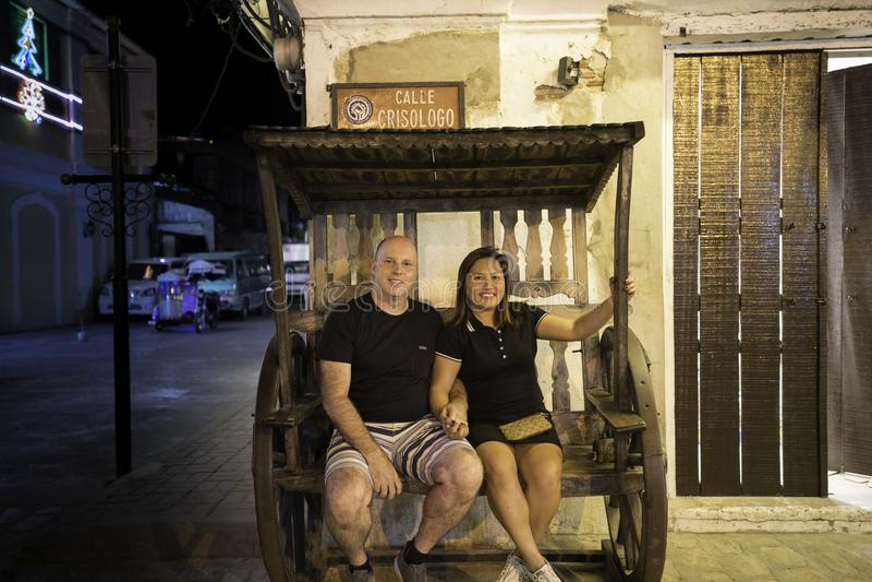 Vigan historische stad, illocos sur, Filippijnen, straatmening royalty-vrije stock afbeelding