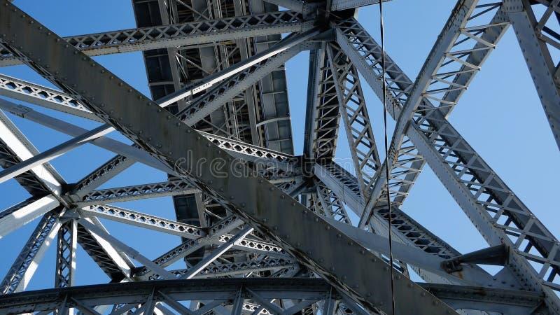 Vigas de acero del metal en un puente de debajo contra el cielo azul foto de archivo libre de regalías
