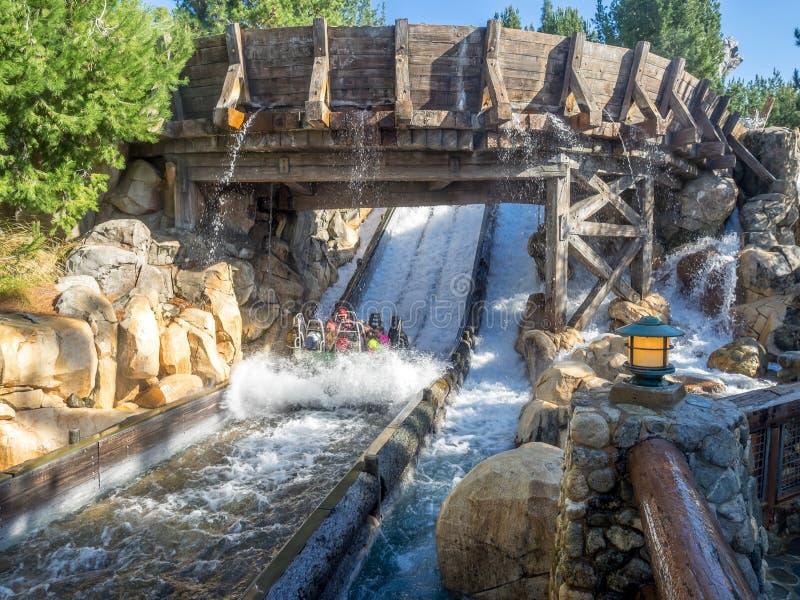Vigas que disfrutan del funcionamiento del río del grisáceo, parque de la aventura de Disney California fotos de archivo