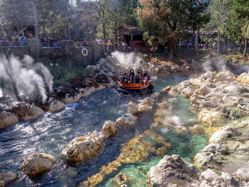Vigas que disfrutan del funcionamiento del río del grisáceo, parque de la aventura de Disney California fotografía de archivo libre de regalías