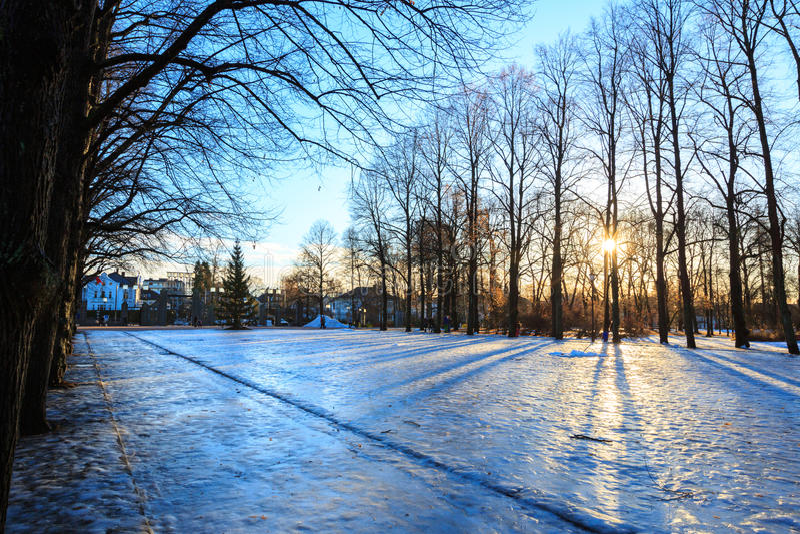 Vigeland公园冬天奥斯陆挪威 库存照片
