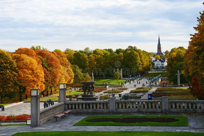 Vigeland公园在秋天 库存照片