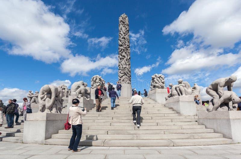 Vigeland公园奥斯陆巨型独石 库存图片