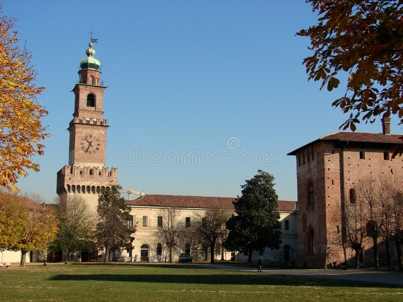 Vigevano castle and tower. A view of the courtyard inside the Castle of Vigevano with the Bramante tower stock image