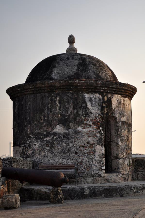 Vigia barroco Cartagena de Índia Colômbia Ámérica do Sul da caixa de sentinela do bastião de Baluarte de San Francisco fotos de stock