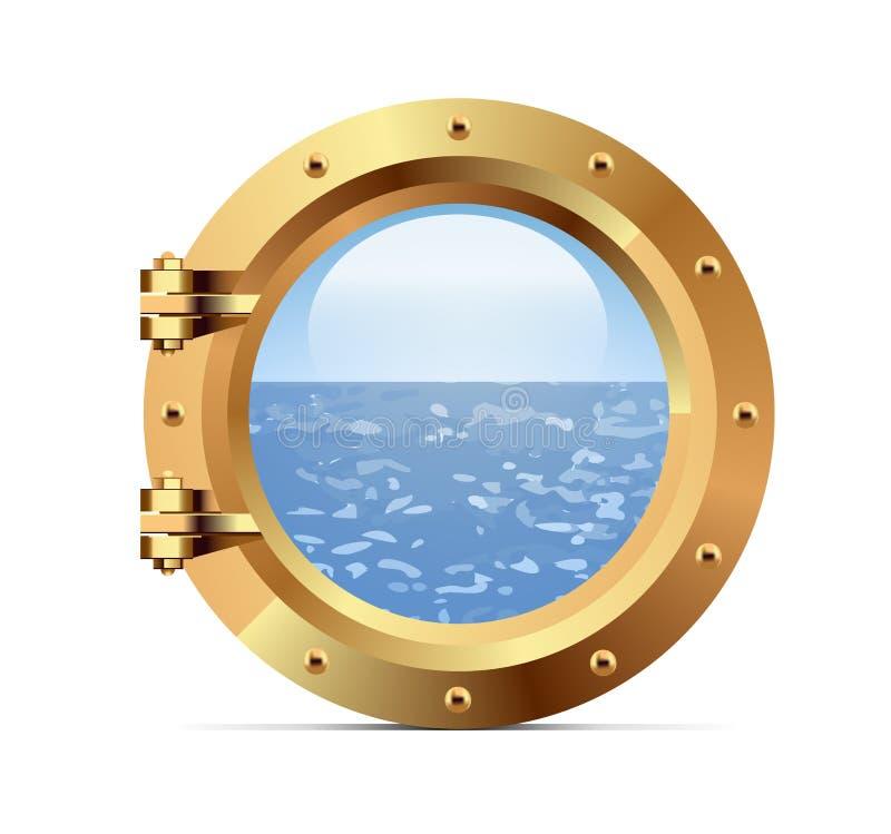 Vigia do metal do navio no fundo branco ilustração royalty free