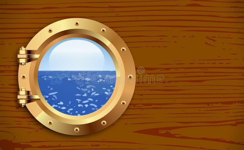 Vigia no fundo de madeira ilustração stock