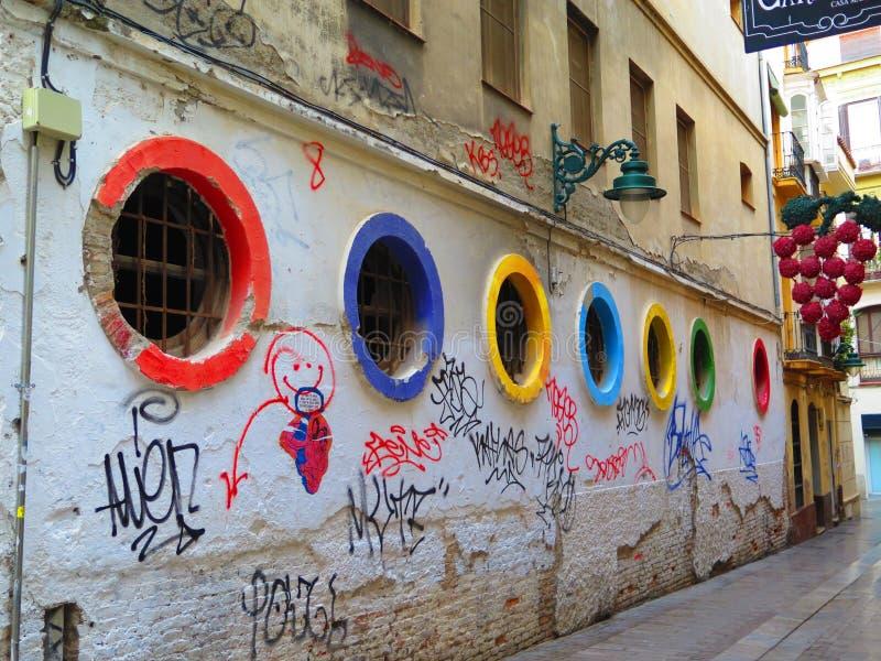 Vigias coloridas na rua de Malaga fotografia de stock