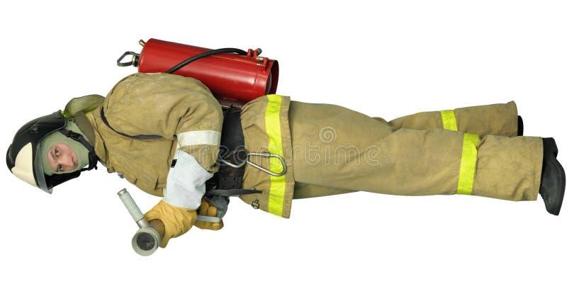 Vigile del fuoco con un nebulizzatore immagine stock libera da diritti