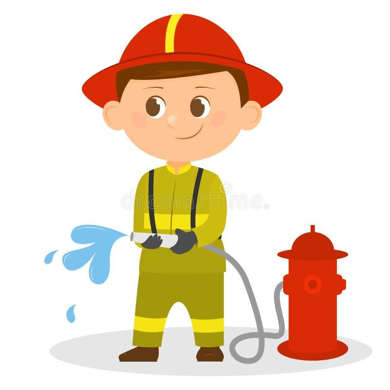 Vigile del fuoco del fumetto con un tubo flessibile in sue mani illustrazione vettoriale