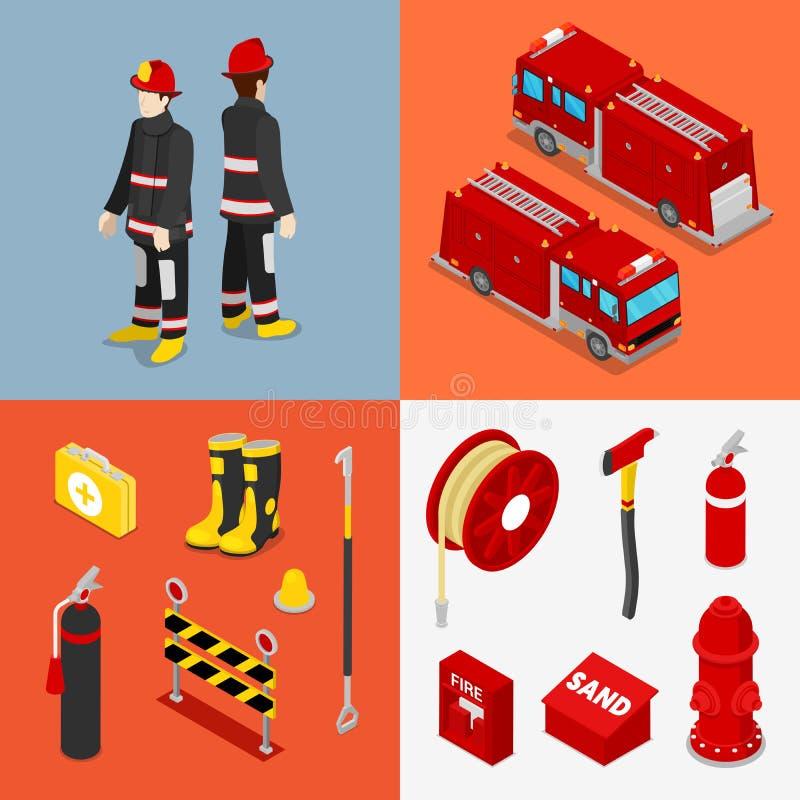 Vigile del fuoco isometrico Pompiere con l'autocisterna e l'attrezzatura illustrazione vettoriale