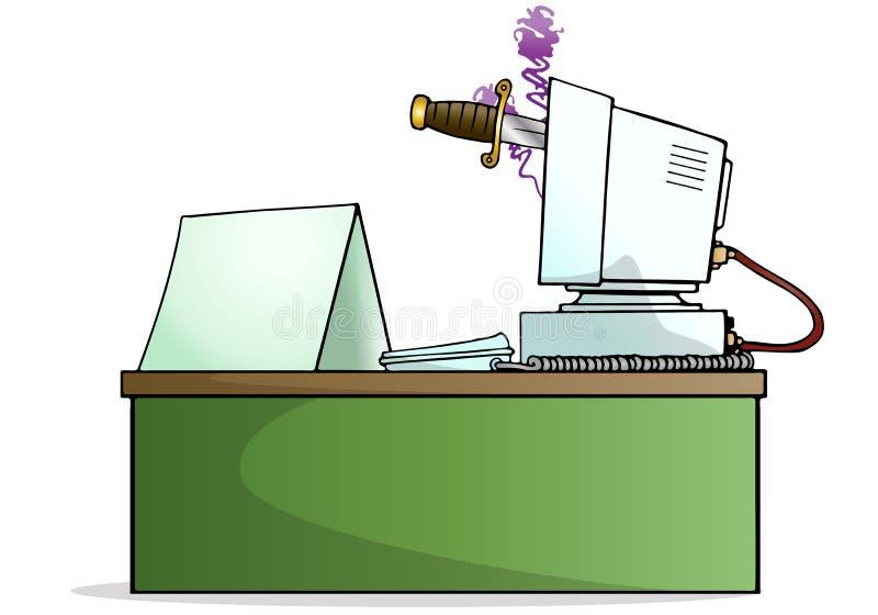 Vigile la puñalada con el mensaje en blanco ilustración del vector