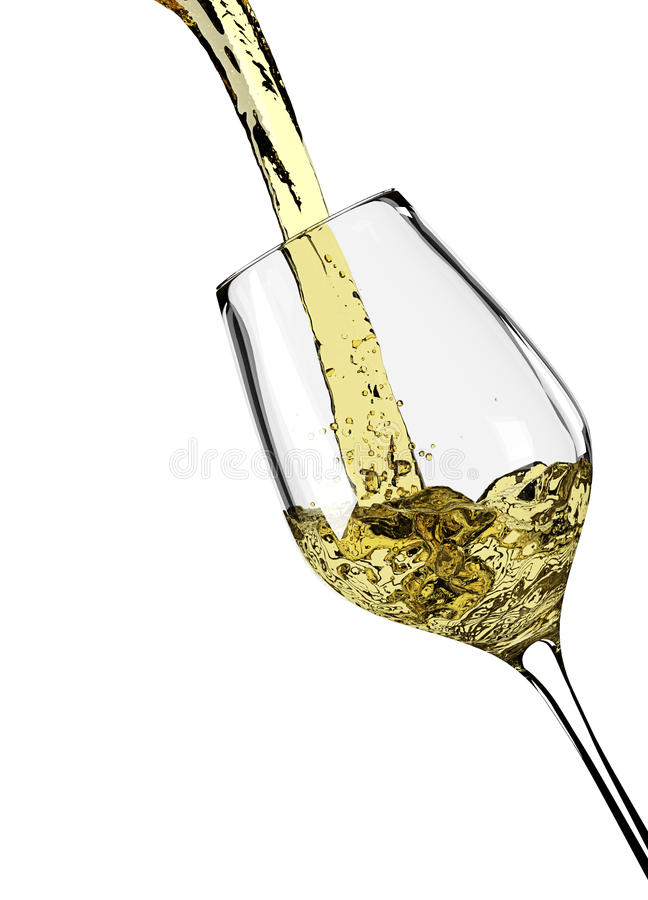 Vigne blanche versant en verre de vigne illustration libre de droits