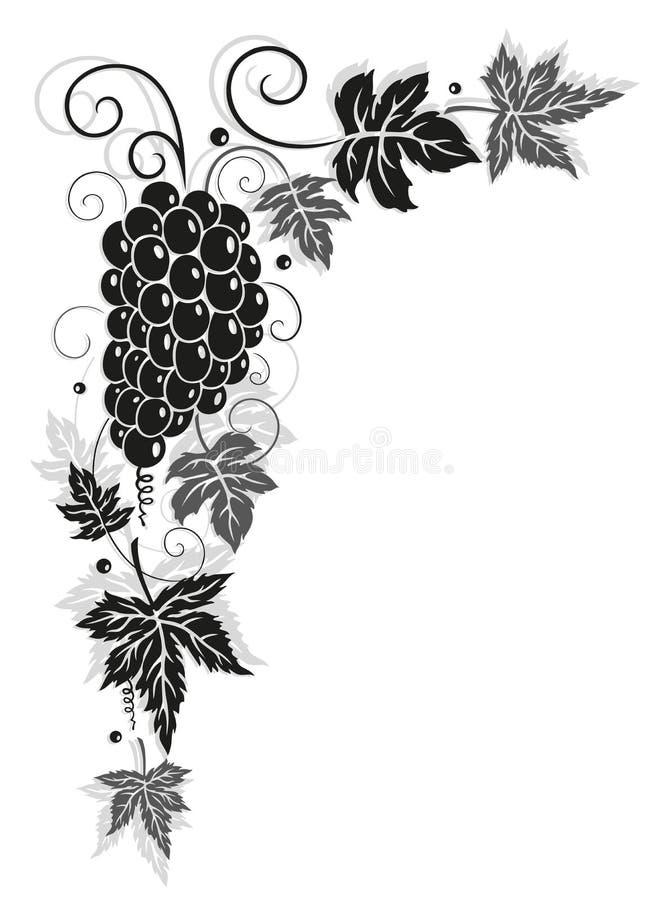 Vigne, feuilles, automne, frontière illustration libre de droits