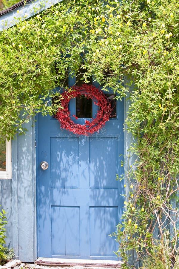 Vignes vertes de rampement sur la maison avec la guirlande rouge image libre de droits