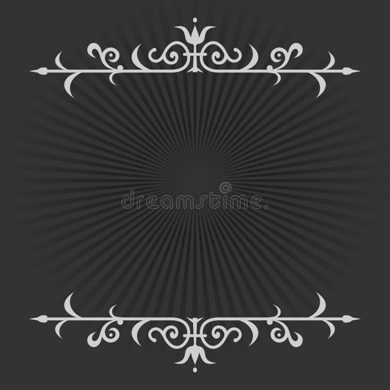 Vignet op een zwart-witte retro achtergrond stock illustratie
