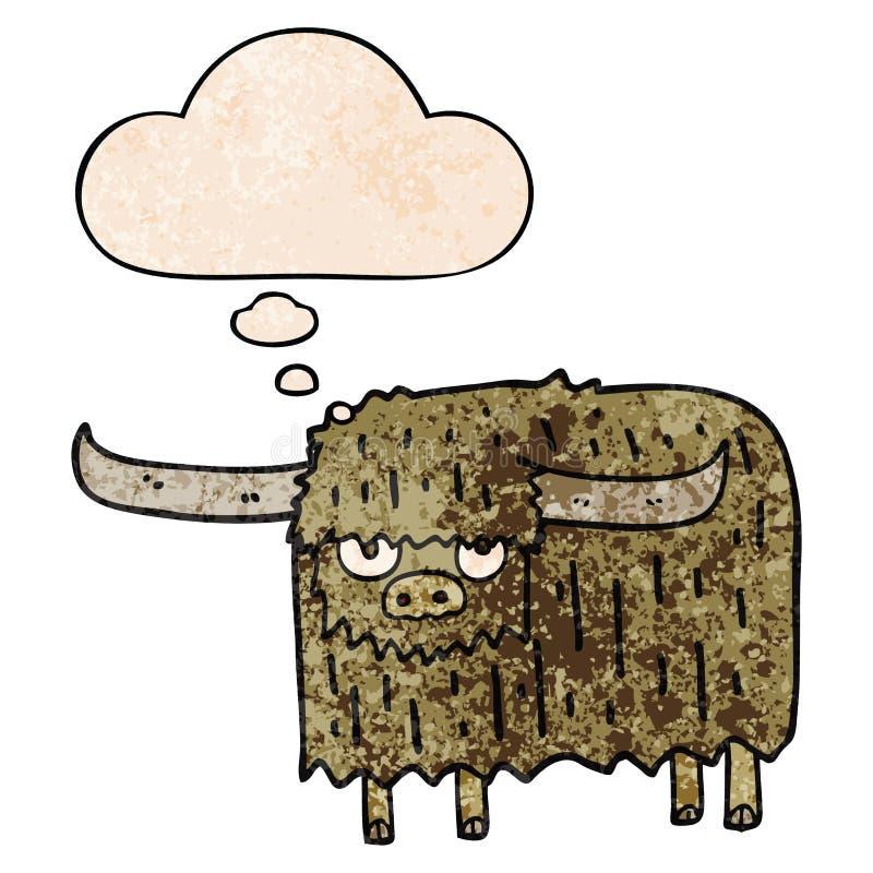 Vignetta creativa 'mucca pelosa' e bolla del pensiero in stile 'grunge texture' royalty illustrazione gratis