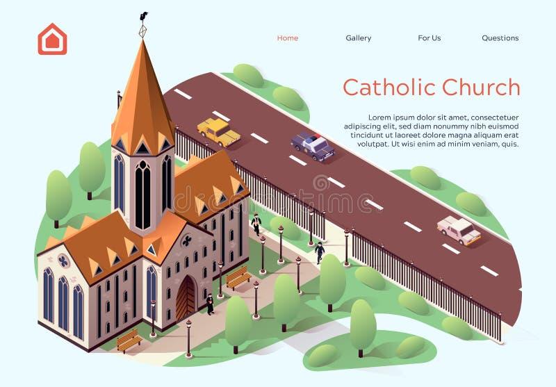 Vignetta della Chiesa Cattolica Piatta royalty illustrazione gratis