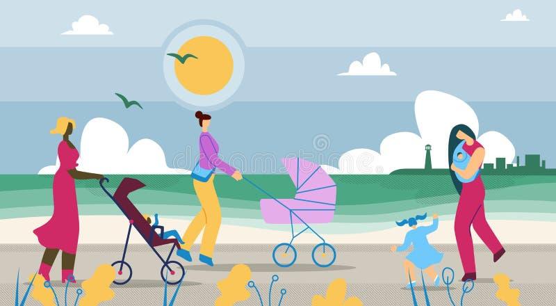Vignetta delle coste: le madri passeggiano con i bambini royalty illustrazione gratis