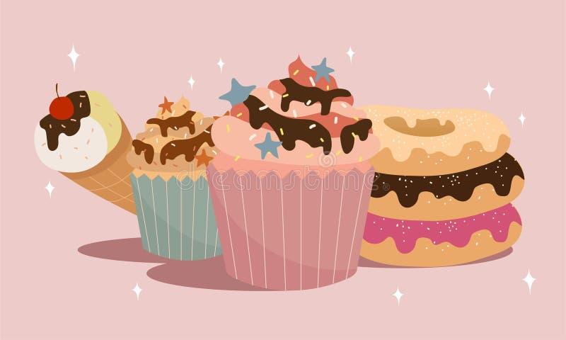 Vignetta di dolce di cupcake royalty illustrazione gratis
