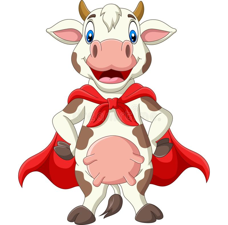Vignetta di una vacca supereroina in mantello rosso royalty illustrazione gratis