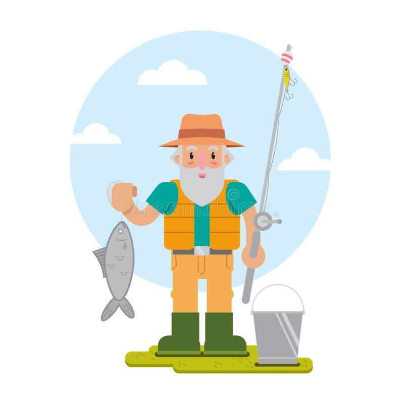 Vignetta di vecchio pescatore illustrazione vettoriale