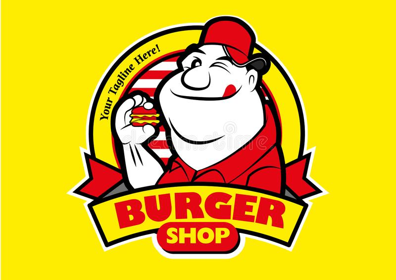 Vignetta Un uomo grasso che mangia un hamburger illustrazione di stock