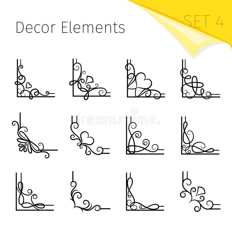 Vignette corners. Vector swirly flourish corner set, curly decorative vintage page frame elements isolated on white stock illustration