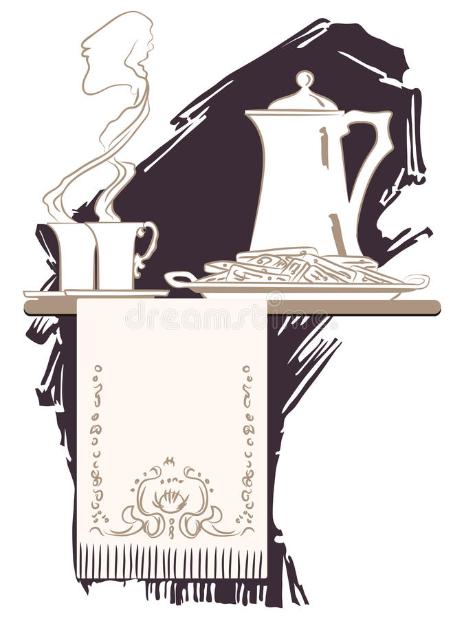 Vignette de vecteur Le croquis sur le thème du petit déjeuner illustration de vecteur