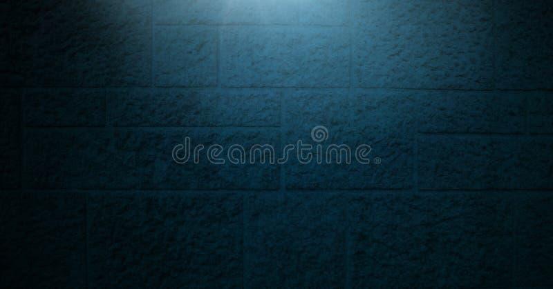Vignette et lumière sur le fond bleu de mur de briques photos stock