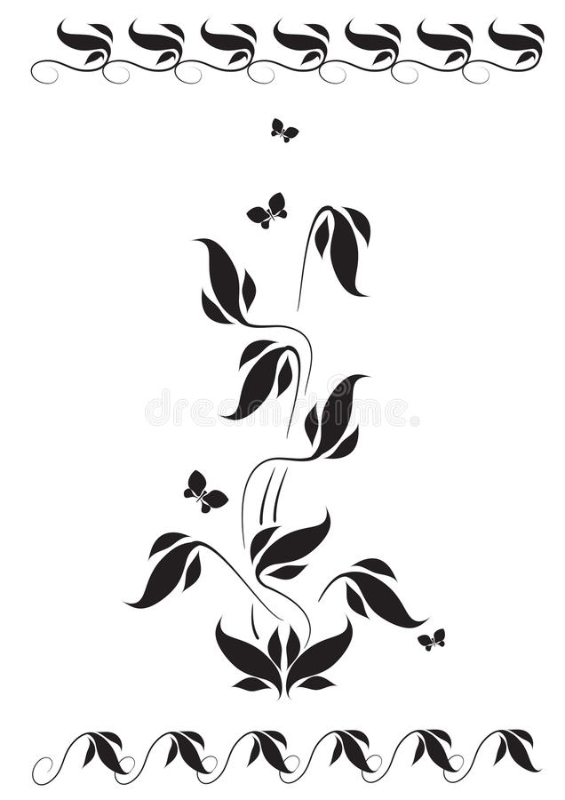 Vignette with floral pattern and butterflies stock illustration