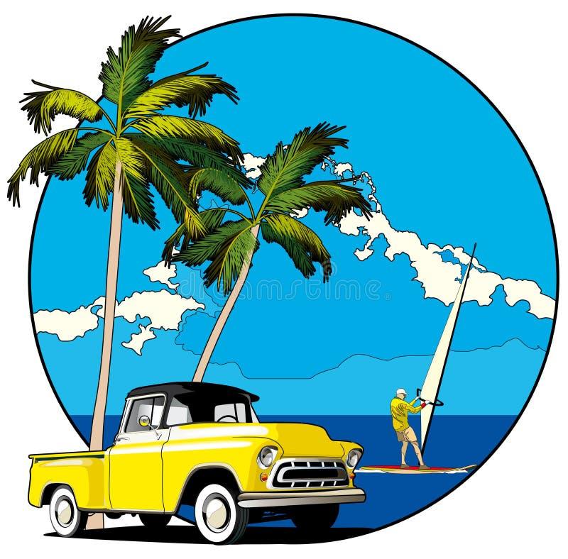 Vignette hawaïenne illustration libre de droits