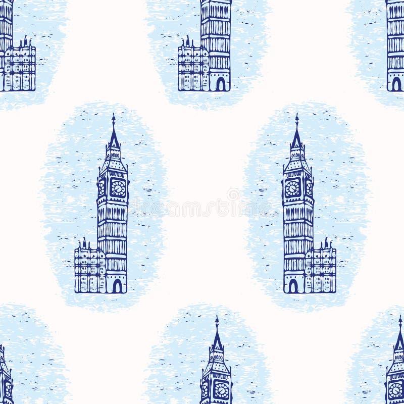 Vignette London Big Ben Clock Tower seamless vector pattern. Famous. Historical british architecture monument. Travel vacation wallpaper, british uk sightseeing vector illustration