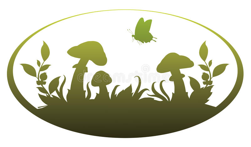 Download Vignette with mushrooms stock vector. Illustration of green - 18481120
