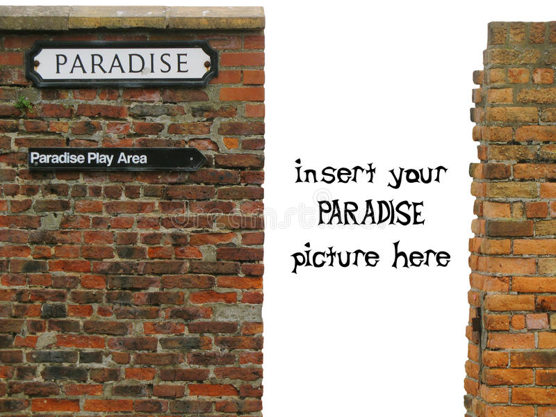 Download Vignette With Paradise Sign On Old Worn Brick Wall Stock Photo - Image: 12408444