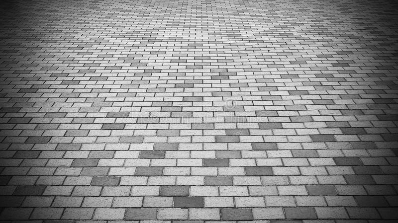 Download Vignette Perspective View Of Monotone Gray Brick Stone Street Road Sidewalk Pavement Stock