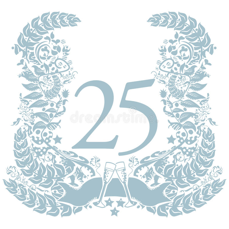 Download Vignette With 25th Anniversary Stock Photo - Image of five, anniversary: 84132516
